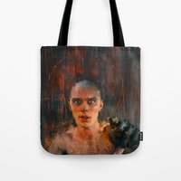 mad max Tote Bags featuring Nux Mad Max by Wisesnail