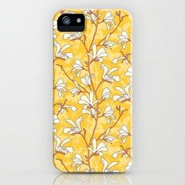 White Magnolias on Yellow iPhone Case