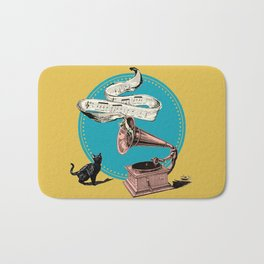 The Cat and the Song Cat (emerald) Bath Mat