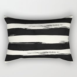 Trendy Black + Cream Stripes Rectangular Pillow