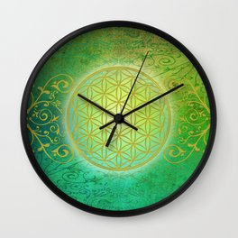 Flower Of Life Vintage gold green Wall Clock