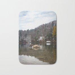 Beautiful scene of swan (lat. Cygnus olor) on the lake Bath Mat