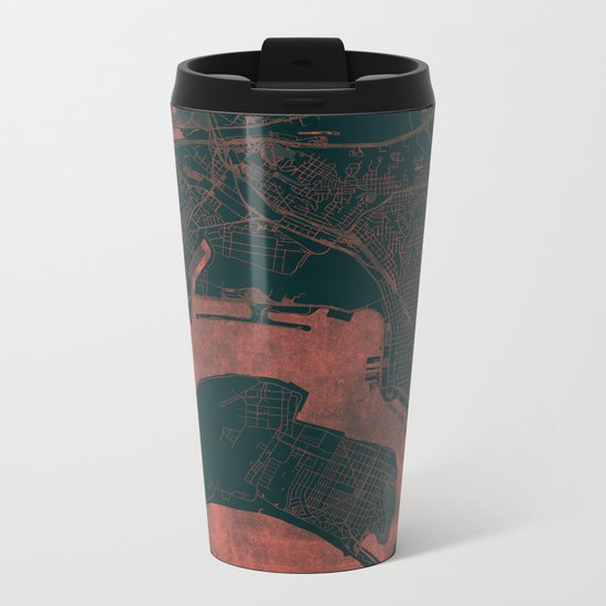 San Diego Map Red Metal Travel Mug