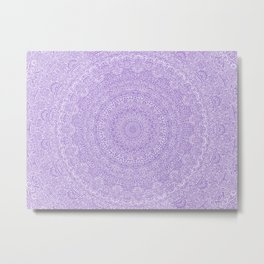 The Most Detailed Intricate Mandala (Violet Purple) Maze Zentangle Hand Drawn Popular Trending Metal Print