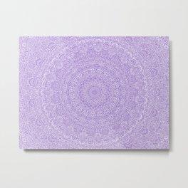 The Most Detailed Intricate Mandala (Violet Purple) Maze Zentangle Hand Drawn Popular Trending Metal Print