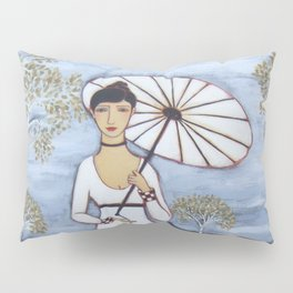 Woman with White Gown, Parasol, Dog and Birch Trees in an Evening Landscape Pillow Sham