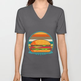 Hamburger Retro Vintage Cheeseburger 80s Unisex V-Neck