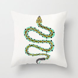 Turquoise Serpent Throw Pillow