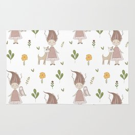 Woodland Nymph and her Doe Rug