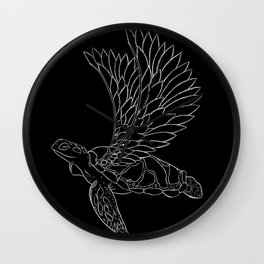 flying turtle black and white Wall Clock