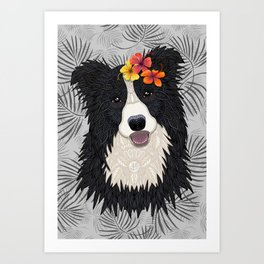 Happy Border Collie with Flowers Art Print
