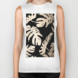 Simply Palm Leaves in White Gold Sands on Midnight Black Biker Tank