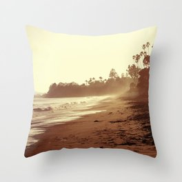 Vintage Retro Sepia Toned Coastal Beach Print Throw Pillow