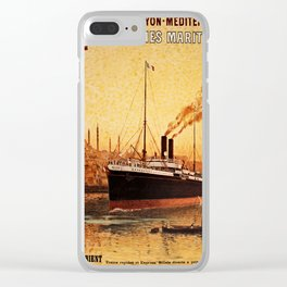 Vintage French Orient Shipping line Paris Mediterranean Clear iPhone Case