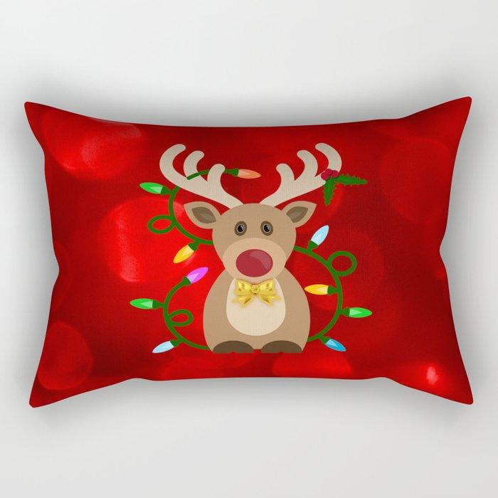 Christmas Reindeer in Lights Rectangular Pillow