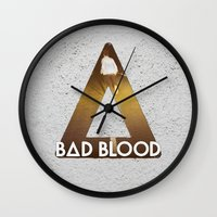 bastille Wall Clocks featuring Bastille #1 Bad Blood by Thafrayer