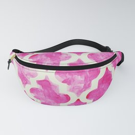 Grungy pink quatrefoil pattern in watercolor Fanny Pack