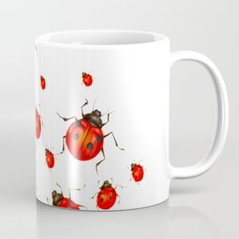 RED LADY BUGS  SWARM  ON WHITE COLOR Coffee Mug