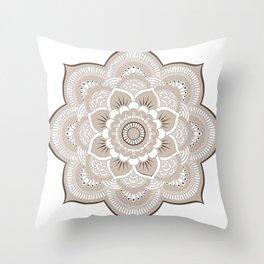 Beige & White Mandala Throw Pillow
