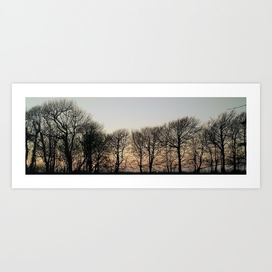 SILHOUETTED WINTER TREES AT DUSK IN DEVON Art Print
