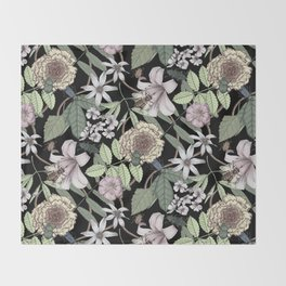 lush floral pattern with bee and beetles II Throw Blanket