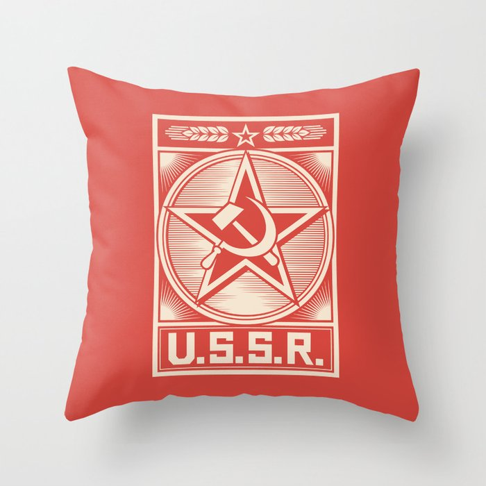star, crossed hammer and sickle - ussr poster (socialism propaganda) Throw Pillow