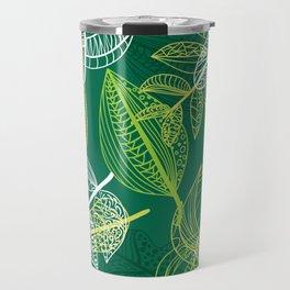 Lovely green leaves pattern illustration Travel Mug