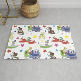 Children's print. Multi-colored toys on a white background. Rug