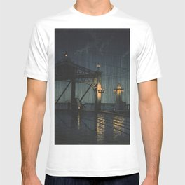 Rickshaw At Shin Ohashi Bridge At Rainy Night - Vintage Japanese Woodblock Print Art T-shirt