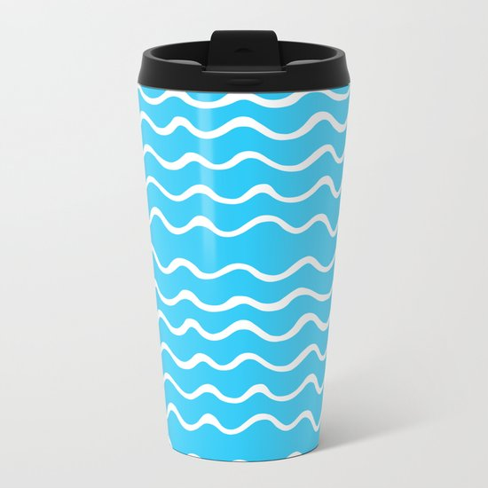 Simple aqua and white handrawn waves - for your summer on #Society6 Metal Travel Mug