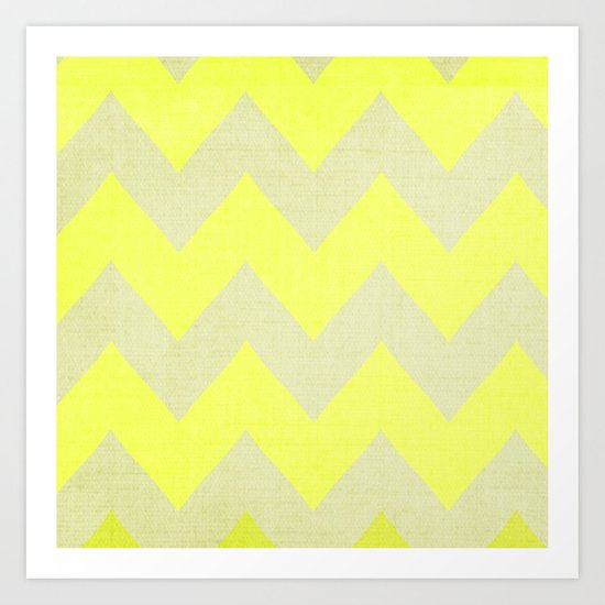 Jonquils & Daffodils - Yellow Chevron Art Print