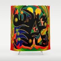 monster Shower Curtains featuring Monster by JT Digital Art