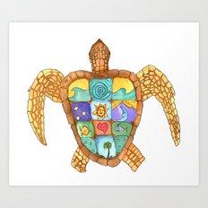Sunny Sea Turtle Art Print