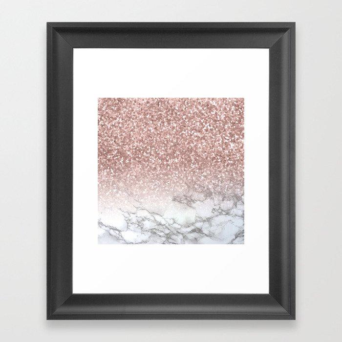 Sparkle - Glittery Rose Gold Marble Gerahmter Kunstdruck