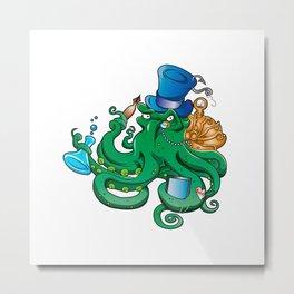 illustration of Steampunk octopus Metal Print