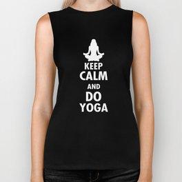 Keep Calm And Do Yoga Gift Biker Tank