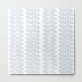abstract vines pattern in white and a pale icy gray Metal Print