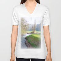 running V-neck T-shirts featuring Running Water by Laake-Photos