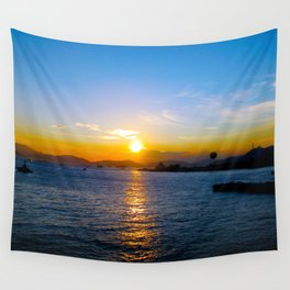Sunset in Star Ferry Pier, Hong Kong Wall Tapestry