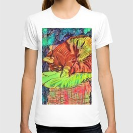 Sleeping Spicy Feline Painting (Ginger Cat) T-shirt