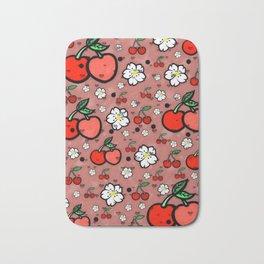 Cherry popart by Nico Bielow Bath Mat