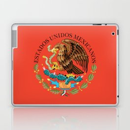 Mexican Flag seal on orange red background Laptop & iPad Skin