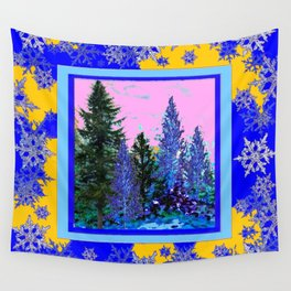 YELLOW-BLUE WINTER SNOWFLAKES  FOREST TREE  ART Wall Tapestry