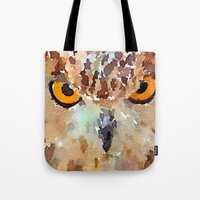 owl Tote Bags featuring Owl by contemporary