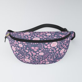 Abstract pink garden pattern in blue marine background Fanny Pack