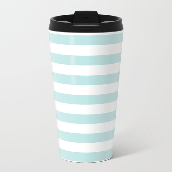 Simply Striped in Succulent Blue Stripes on White Metal Travel Mug