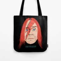 iggy Tote Bags featuring Iggy Stardust by Chris Piascik