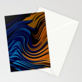Burnt Orange and petrol Blue abstract  Stationery Cards