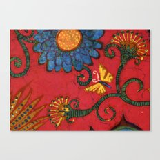 batik butterflies and flowers on red 2 Canvas Print