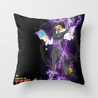 dbz Throw Pillows featuring DBZ Tesla by Hushy